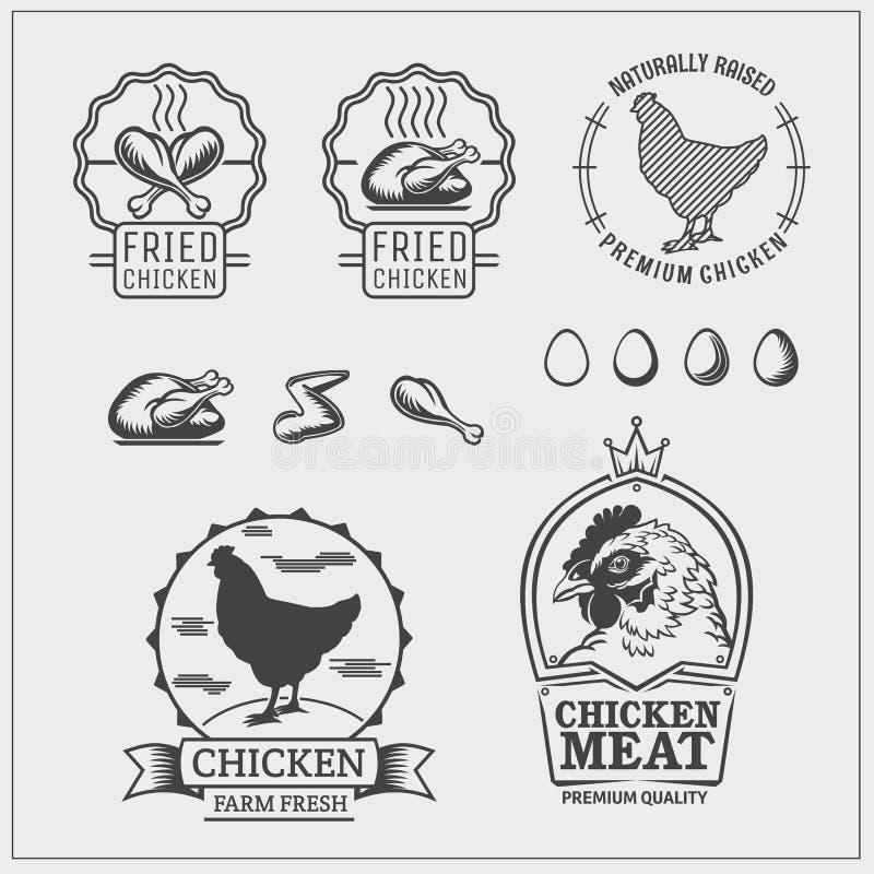 Grupo de etiquetas da galinha, de emblemas e de elementos do projeto ilustração royalty free
