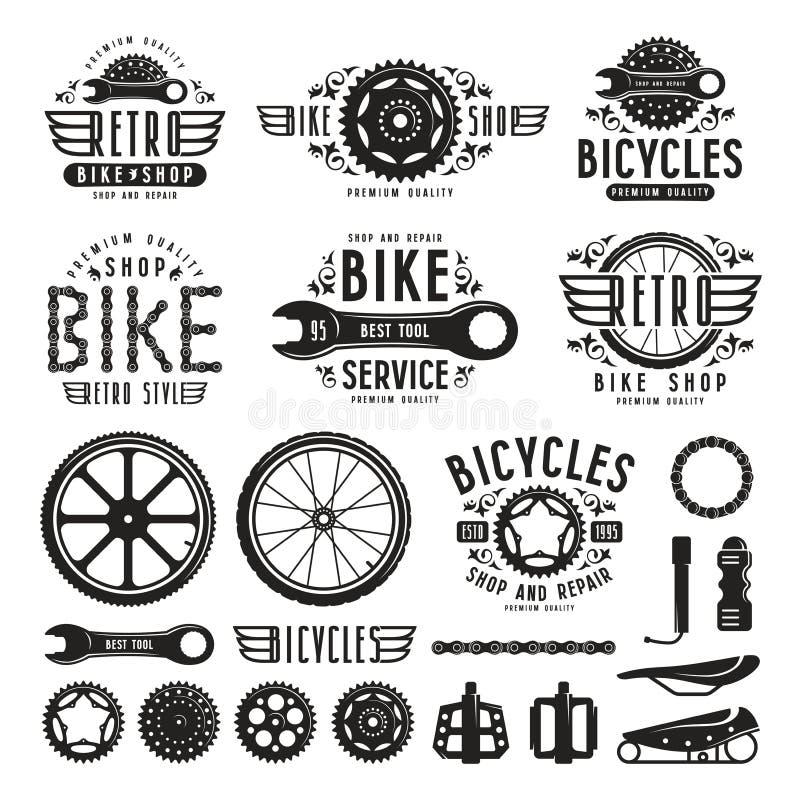 Grupo de etiquetas da loja da bicicleta do vintage ilustração do vetor