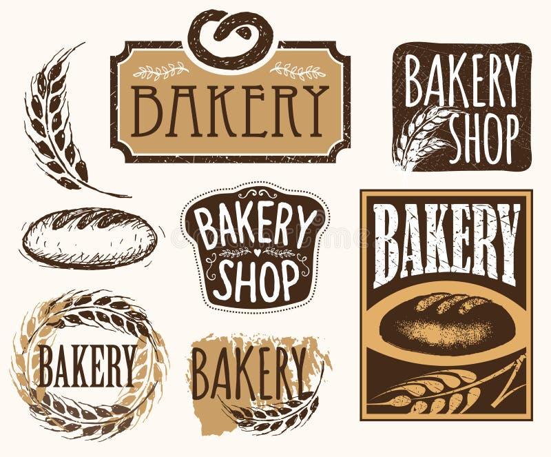 Grupo de etiquetas da padaria do vintage, de crachás e de elementos do projeto ilustração stock