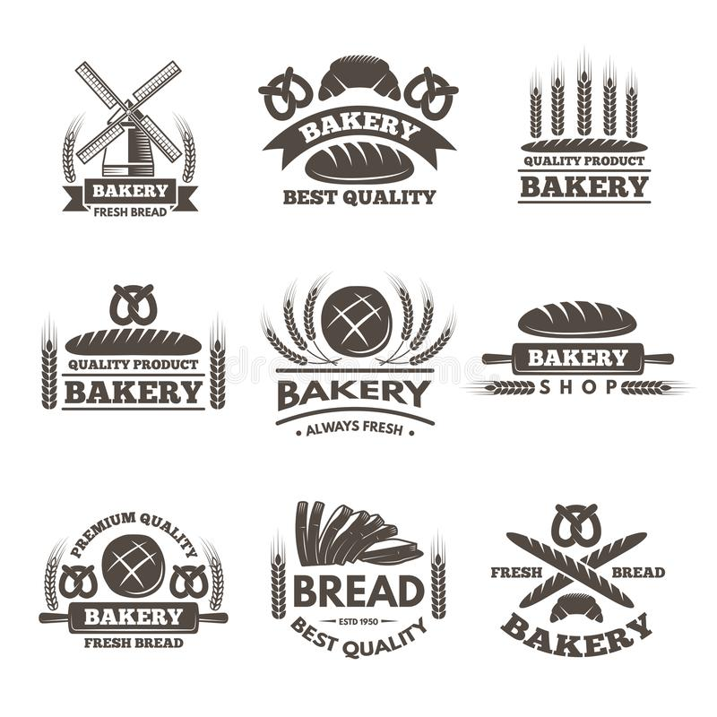 Grupo de etiquetas da padaria do vintage Molde do logotipo no estilo do vetor ilustração do vetor