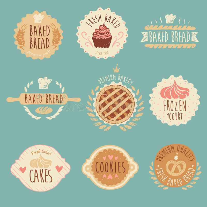 Grupo de etiquetas da padaria, pão, ilustração do vintage ilustração do vetor