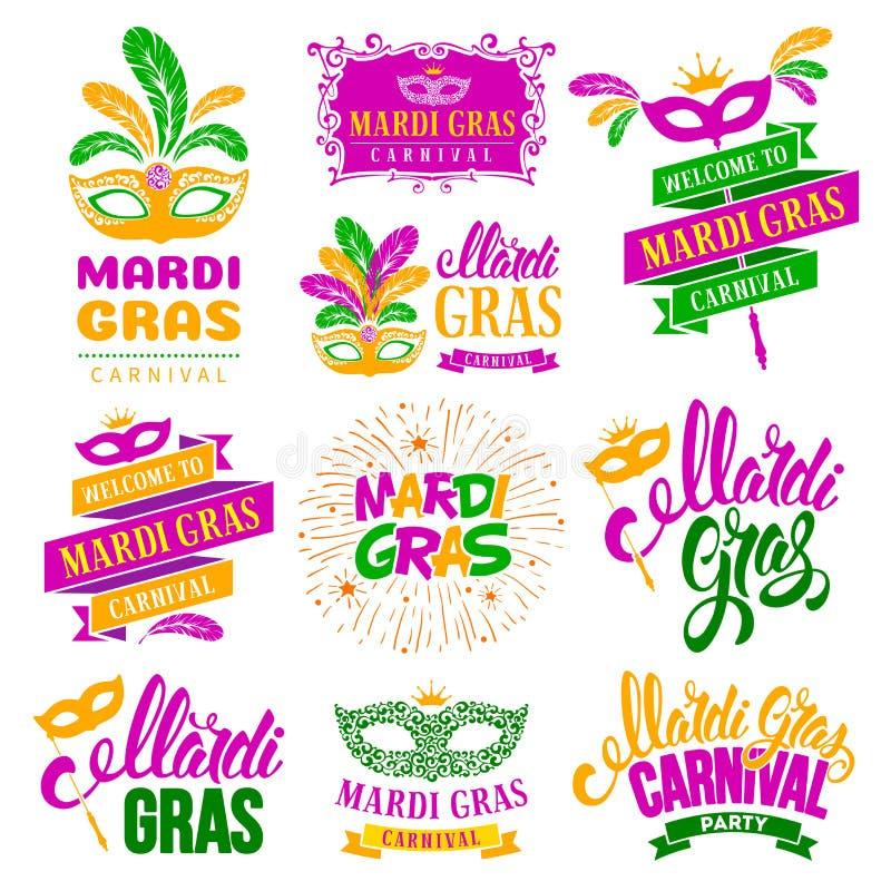 Grupo de etiquetas da tipografia de Mardi Gras Carnival ilustração stock