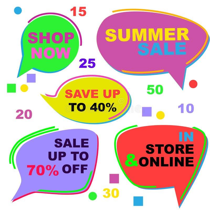Grupo de etiquetas da venda do ver?o Etiquetas a ser colocadas sobre a imagem, impressas - para fora ou usadas como está no Web s ilustração do vetor