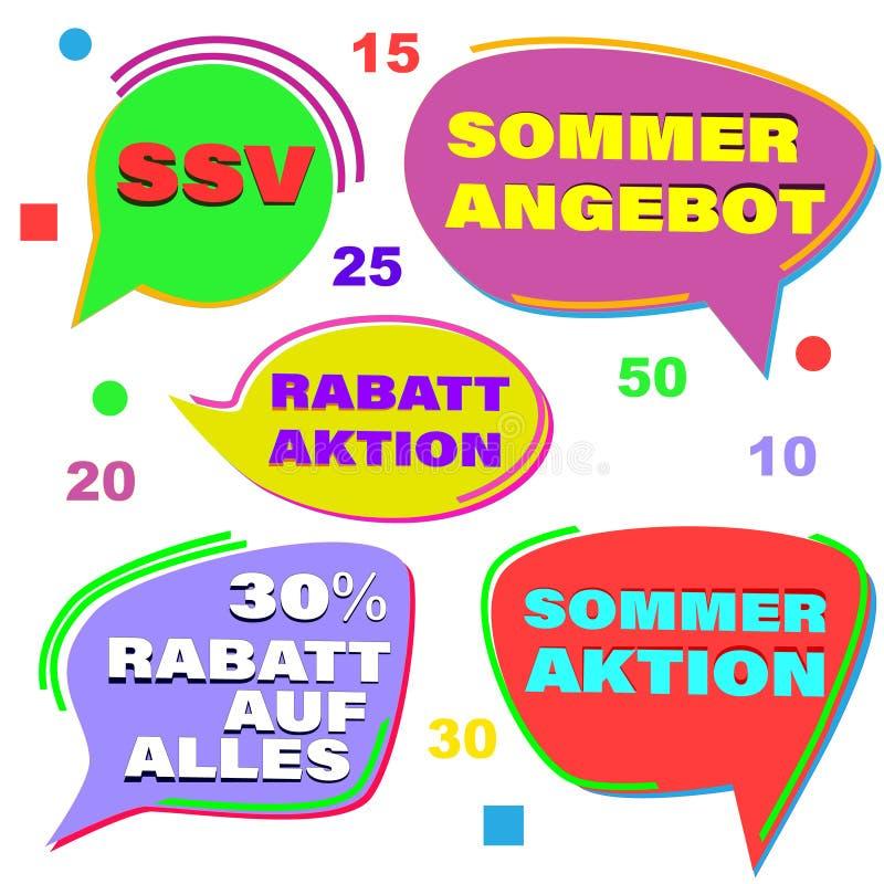 Grupo de etiquetas da venda do ver?o O texto no alemão diz a venda final do verão, venda do verão, desconta para tudo ilustração do vetor