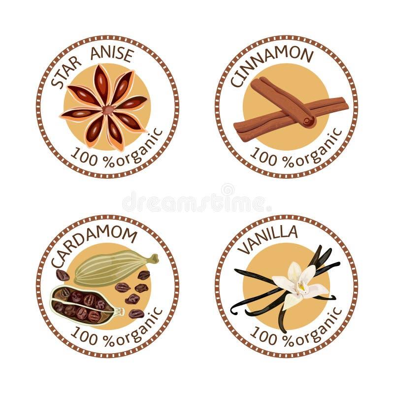 Grupo de etiquetas das especiarias 100 orgânicos coleção ilustração do vetor