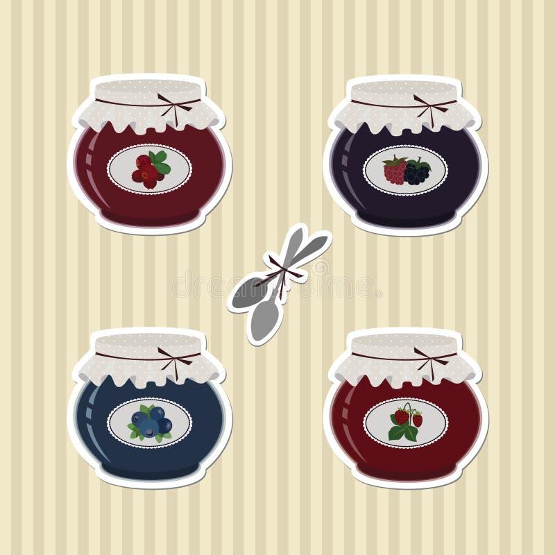 Grupo de etiquetas de Berry Jam e das colheres ilustração stock