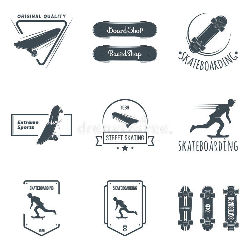 Grupo de etiquetas, de crachás e de elementos skateboarding do projeto ilustração stock