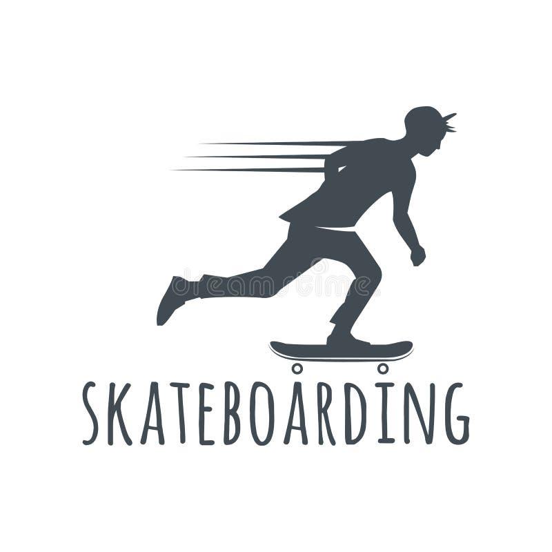 Grupo de etiquetas, de crachás e de elementos skateboarding do projeto ilustração do vetor