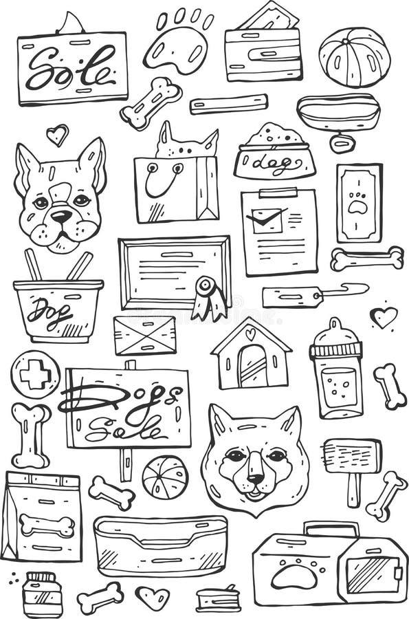 Grupo de etiquetas de cuidados dos animais de estimação retros, de crachás e de elementos do projeto Loja de venda do cão ilustração do vetor