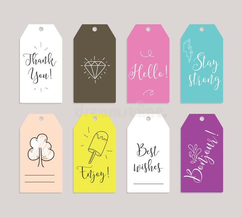 Grupo de etiquetas, de etiquetas ou de etiquetas Cartões para girar Citações inspiradas Útil como convites, cumprimentos, planeja ilustração royalty free