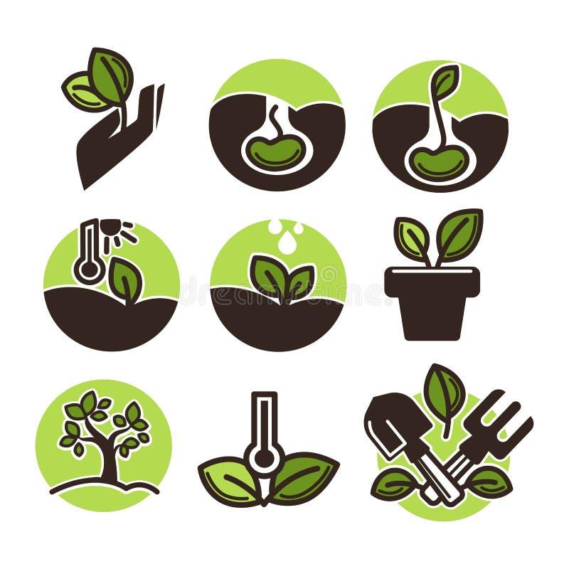 Grupo de etiquetas de jardinagem ilustração do vetor