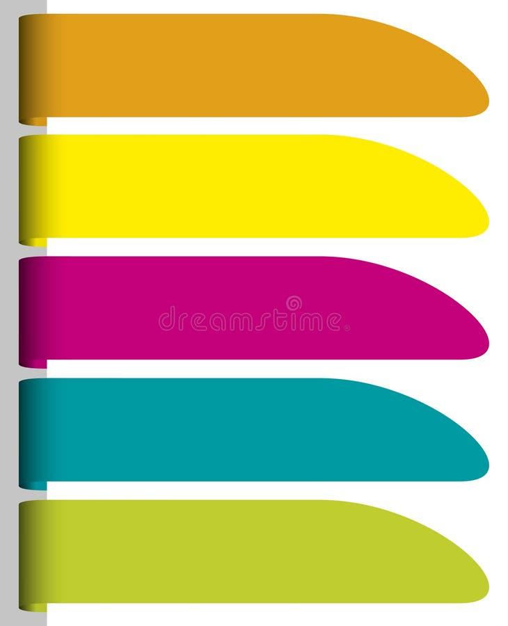 Grupo de etiquetas de papel coloridas ilustração royalty free