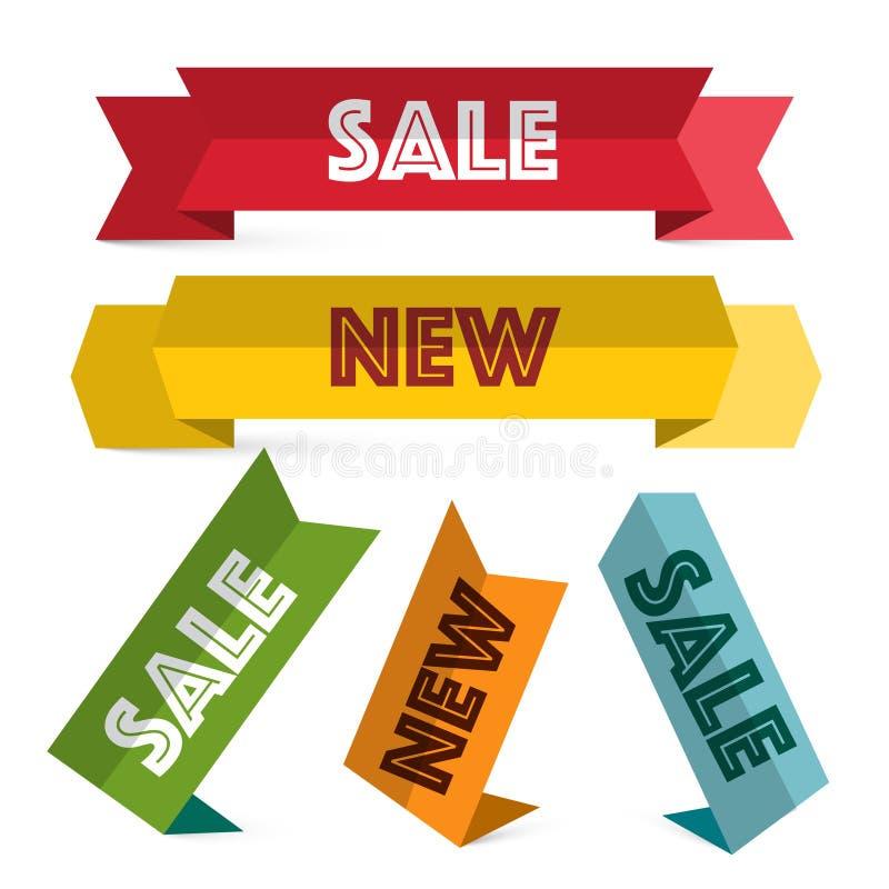 Grupo de etiquetas de papel Venda retro e etiquetas novas ilustração stock