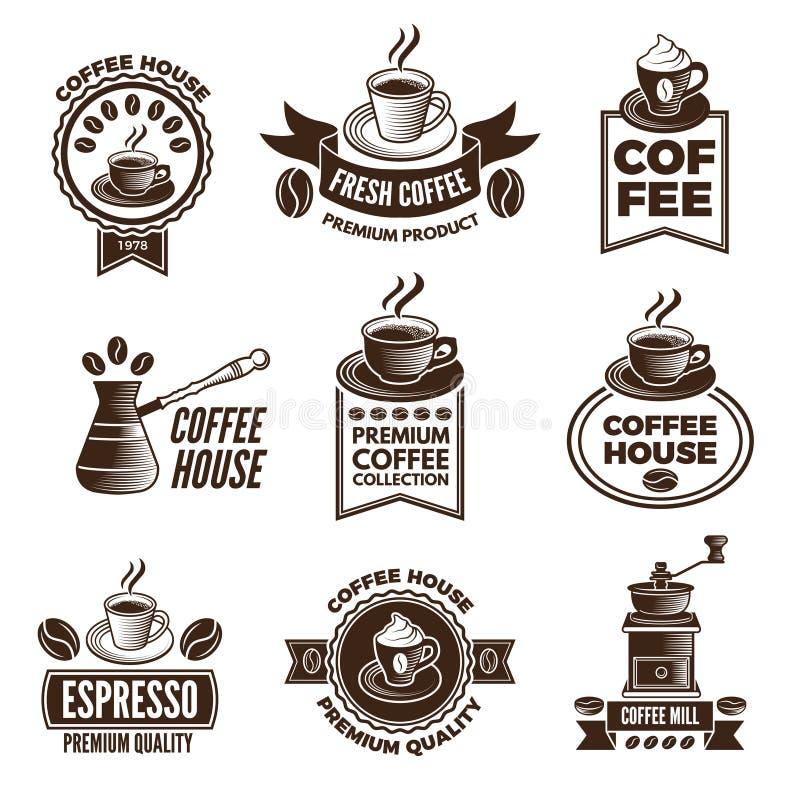 Grupo de etiquetas diferente para a casa do café Imagens das xícaras de café e dos feijões da cafeína ilustração stock