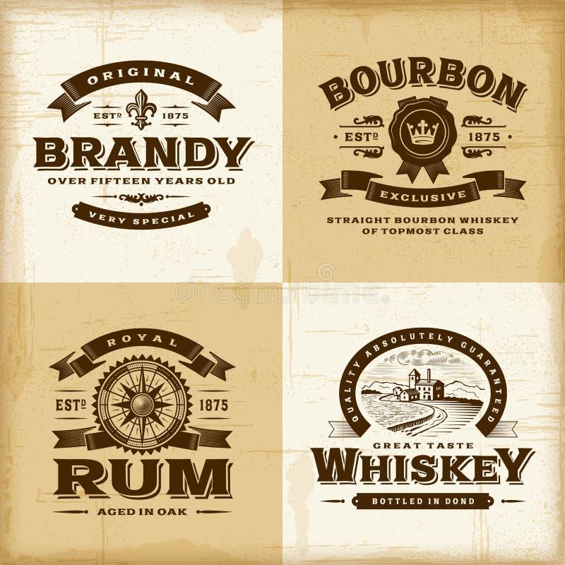 Grupo de etiquetas do álcool do vintage ilustração do vetor