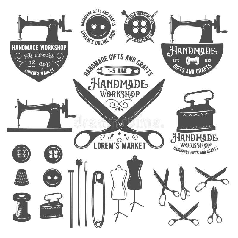 Grupo de etiquetas do alfaiate do vintage, de crachás e de elementos do projeto ilustração royalty free