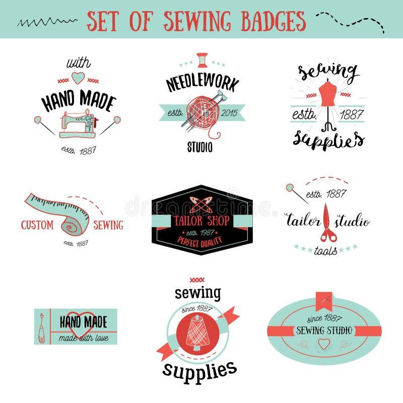 Grupo de etiquetas do alfaiate do vintage, de elementos do projeto e de crachás coloridos Costurando a loja, sinais do bordado ilustração do vetor