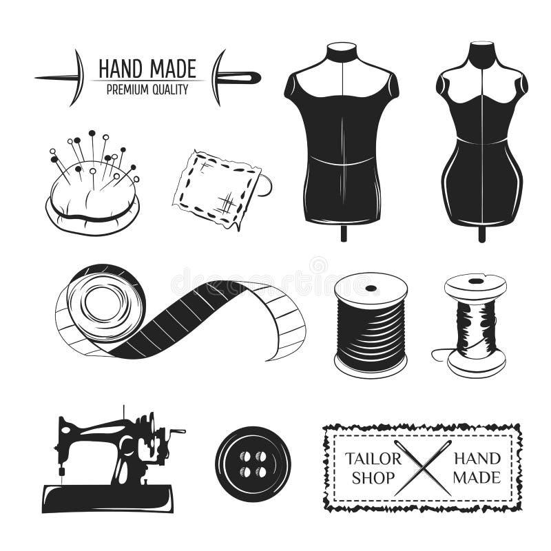 Grupo de etiquetas do alfaiate do vintage, de emblemas e de elementos projetados Tema da loja do alfaiate ilustração stock
