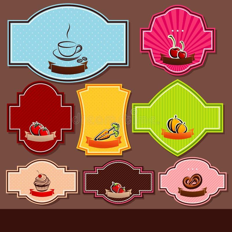 Grupo de etiquetas do alimento ilustração royalty free