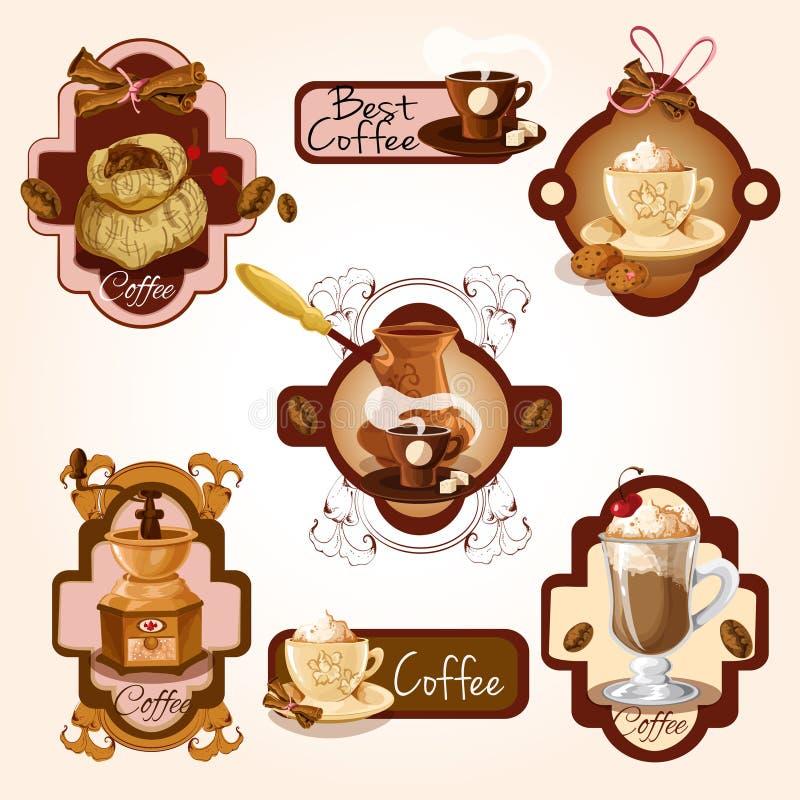 Grupo de etiquetas do café ilustração royalty free