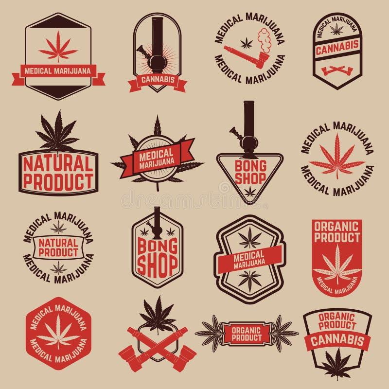 Grupo de etiquetas do cannabis A marijuana médica, bong a loja Ele do projeto ilustração royalty free