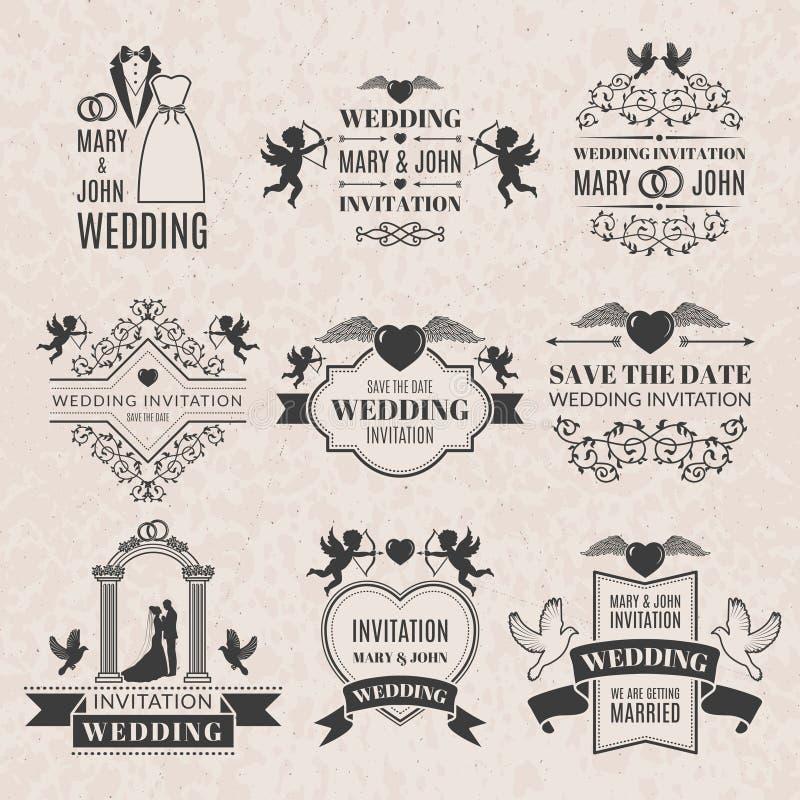 Grupo de etiquetas do casamento no estilo do victorian Imagens monocromáticas ajustadas para crachás ou logotipos ilustração royalty free