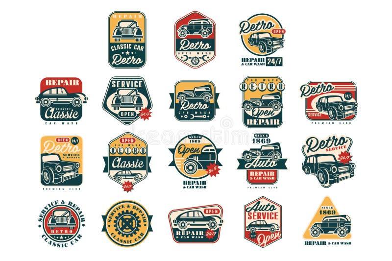 Grupo de etiquetas do estilo do vintage do reparo do carro, auto logotipo do servi?o, ilustra??es do vetor do crach? em um fundo  ilustração stock