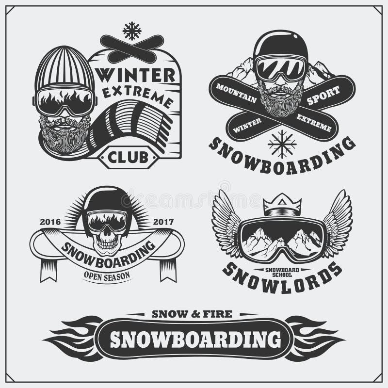 Grupo de etiquetas do extremo da snowboarding, de emblemas, de crachás e de elementos do projeto Símbolos da aventura da montanha ilustração royalty free