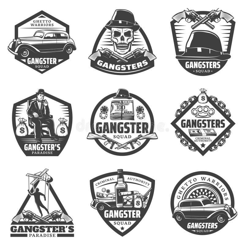 Grupo de etiquetas do gângster do vintage ilustração stock