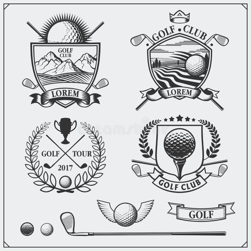 Grupo de etiquetas do golfe do vintage, de crachás, de emblemas e de elementos do projeto ilustração do vetor