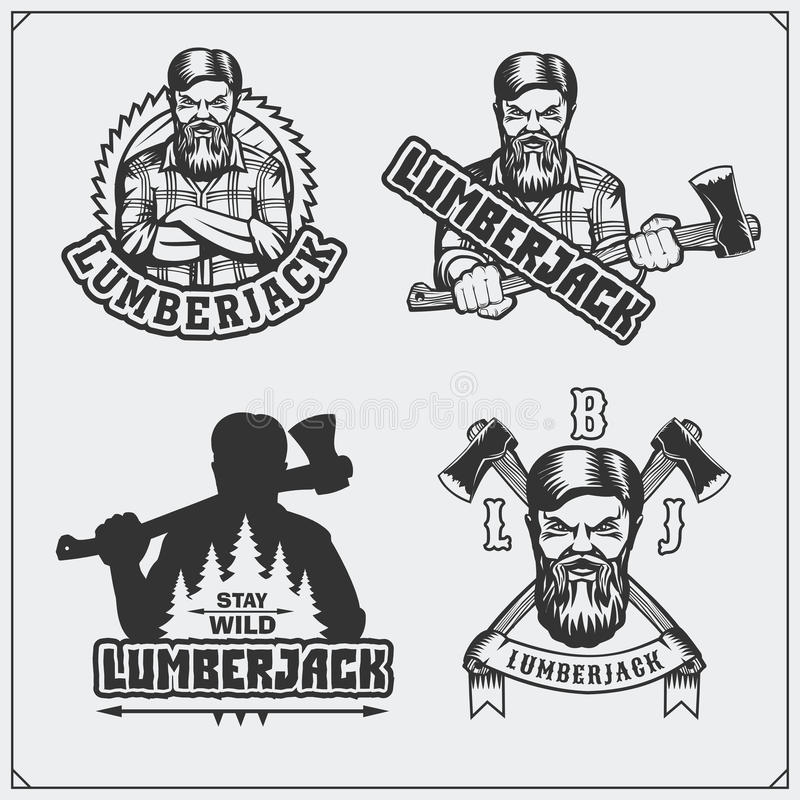 Grupo de etiquetas do lenhador, de emblemas, de crachás e de elementos do projeto Estilo do vintage ilustração do vetor