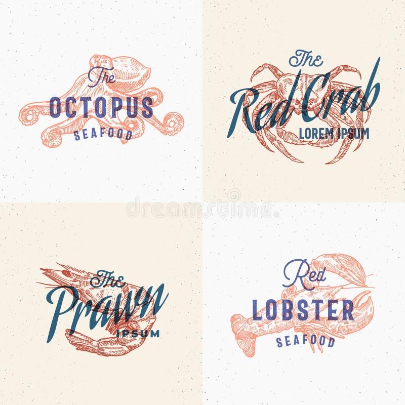 Grupo de etiquetas do marisco Cartões retros do efeito da cópia Sinal, símbolo ou Logo Templates abstrato do vetor Lagosta tirada ilustração royalty free