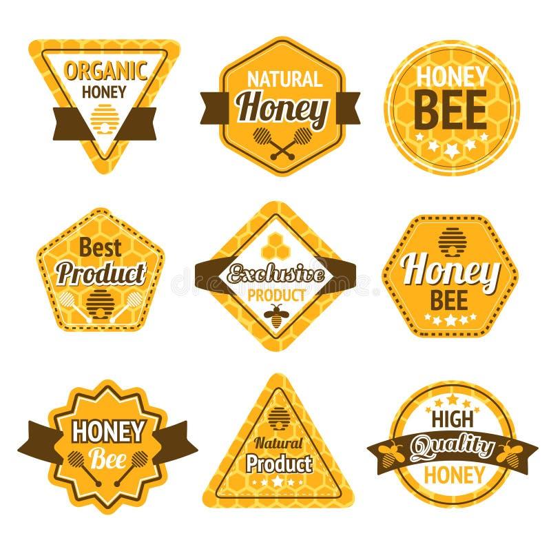 Grupo de etiquetas do mel ilustração royalty free