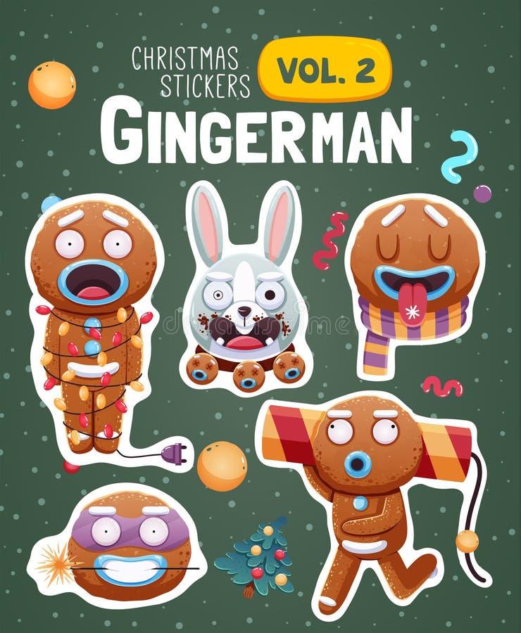 Grupo de etiquetas do Natal com as cookies expressivos do homem de pão-de-espécie ilustração stock