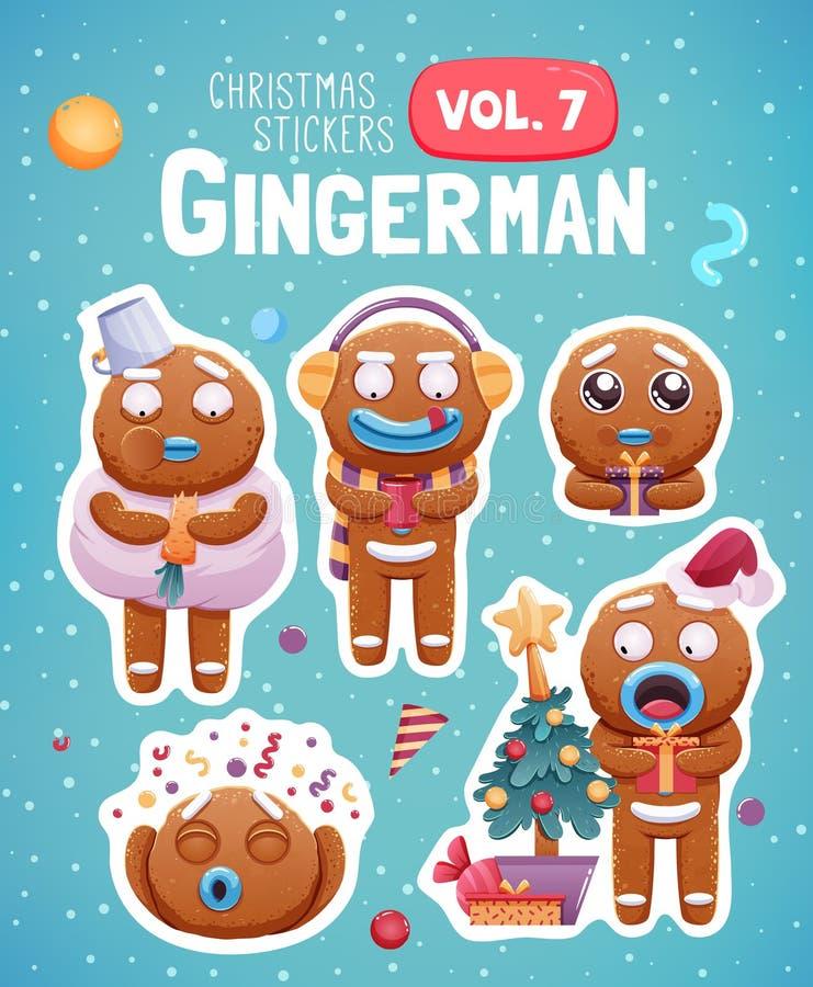 Grupo de etiquetas do Natal com as cookies expressivos do homem de pão-de-espécie ilustração royalty free