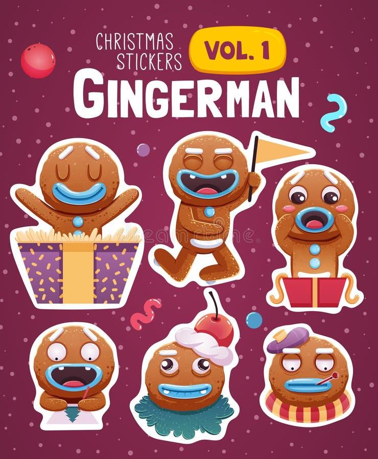 Grupo de etiquetas do Natal com as cookies expressivos do homem de pão-de-espécie ilustração do vetor