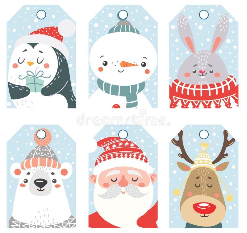 Grupo de etiquetas do Natal e do ano novo com animais e Santa ilustração royalty free