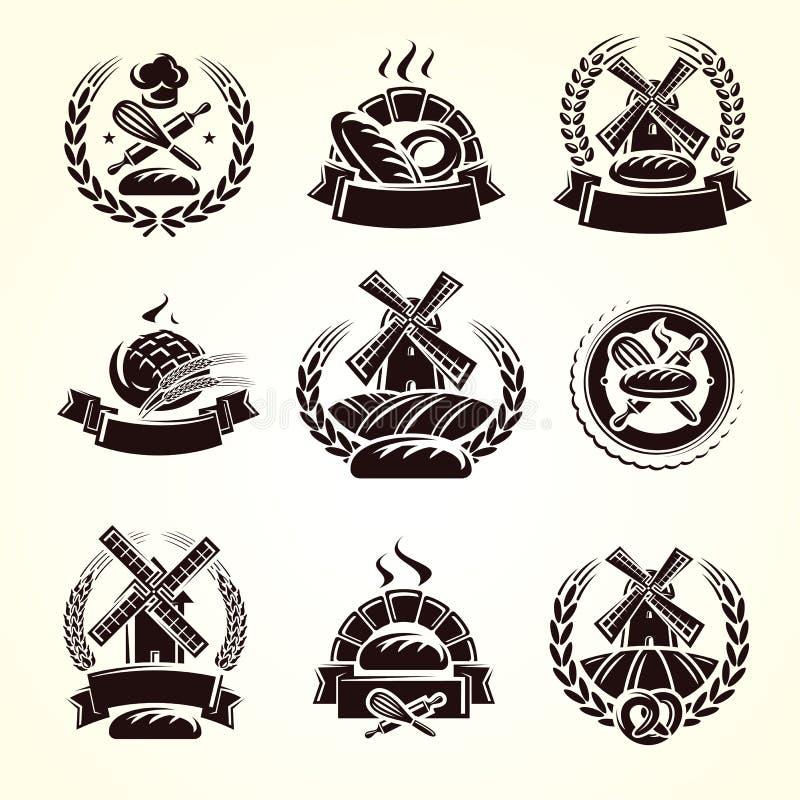 Grupo de etiquetas do pão Pão do ícone da coleção Vetor ilustração stock