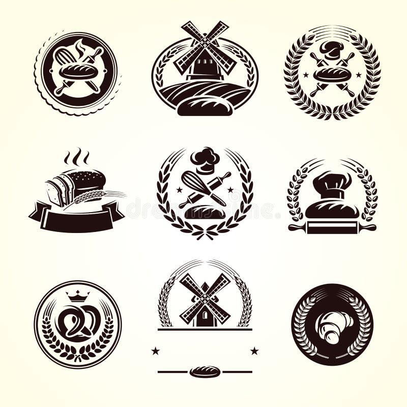 Grupo de etiquetas do pão Pão do ícone da coleção Vetor ilustração royalty free