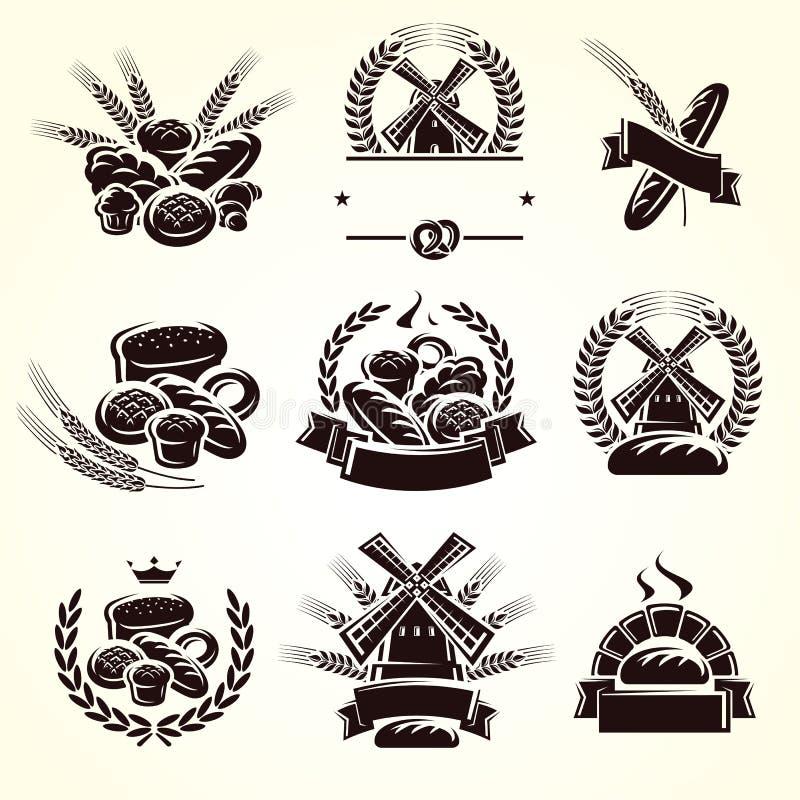 Grupo de etiquetas do pão Vetor ilustração stock