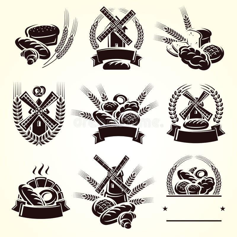 Grupo de etiquetas do pão Vetor ilustração royalty free
