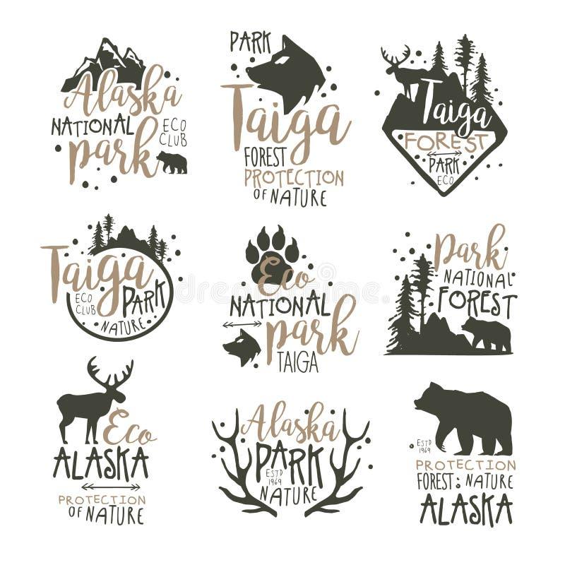 Grupo de etiquetas do parque nacional de Alaska Ilustrações tiradas mão do vetor da proteção de floresta ilustração stock