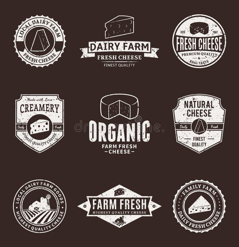 Grupo de etiquetas do queijo do vetor, de ícones e de elementos do projeto