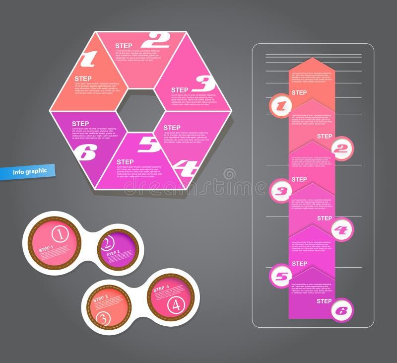 Grupo de etiquetas do rosa para a grande variedade de uso ilustração royalty free