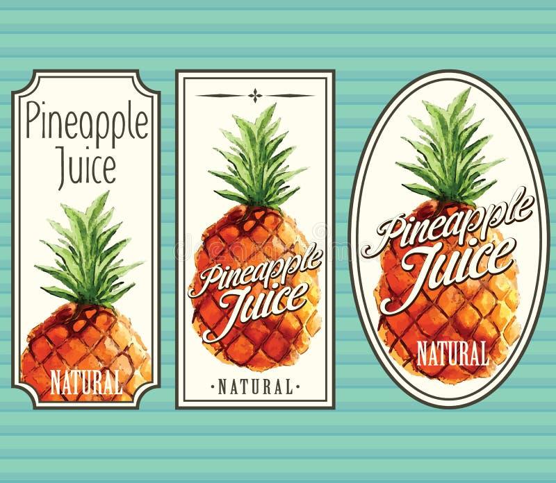 Grupo de etiquetas do suco de abacaxi ilustração royalty free