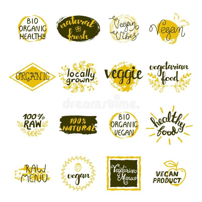Grupo de etiquetas do vegetariano ilustração royalty free