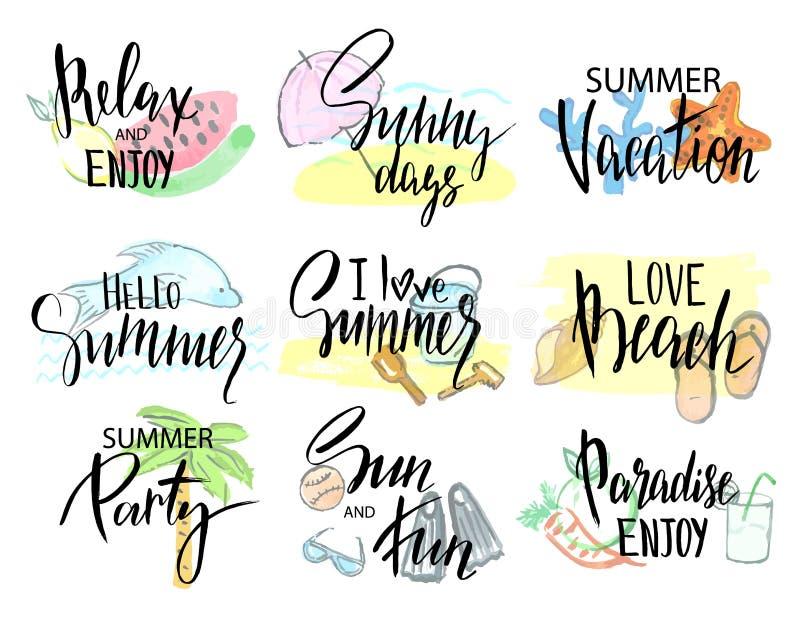 Grupo de etiquetas do verão, de logotipos, e de grupo de elementos tirados mão para férias de verão, férias da praia Ilustração d ilustração stock