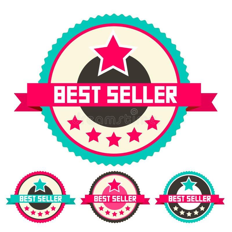 Grupo de etiquetas do vetor do melhor vendedor ilustração stock