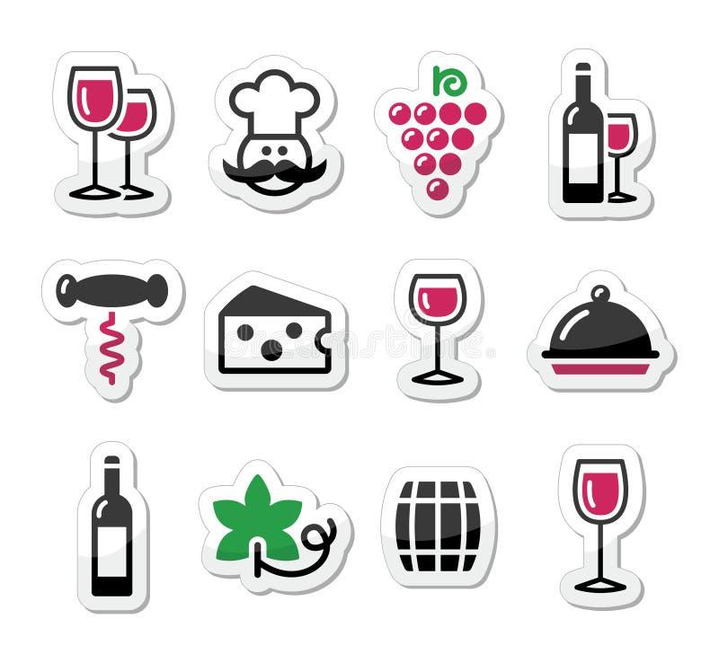 Grupo de etiquetas do vinho - vidro, garrafa, restaurante, alimento ilustração stock