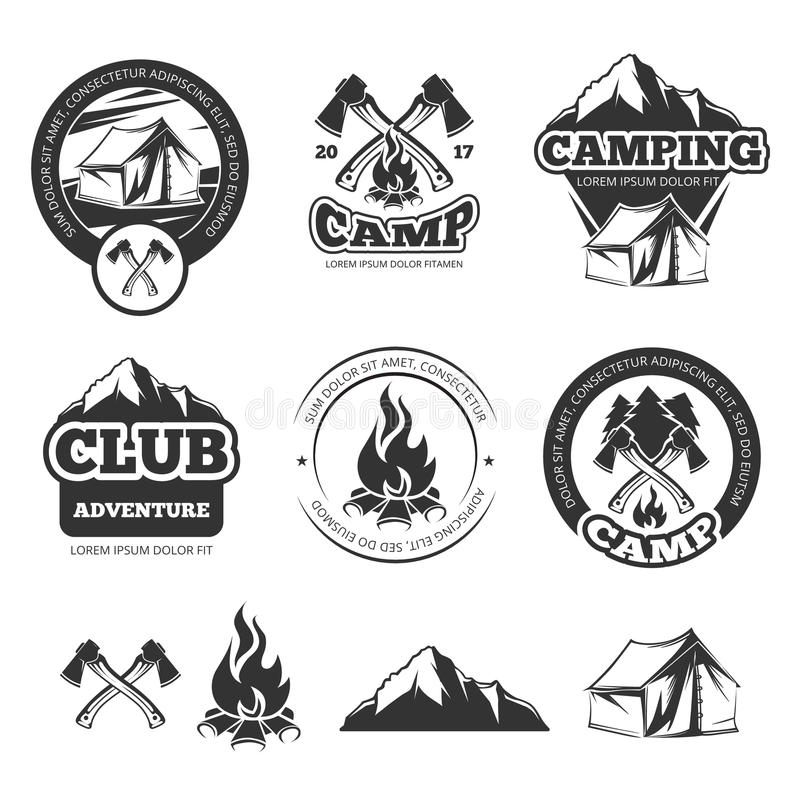 Grupo de etiquetas do vintage da natureza para o acampamento do escuteiro Crachás de acampamento com barraca do turista Ilustraçõ ilustração stock